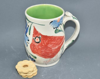 Extra Large Coffee Mugs with Red Cardinal,  Handmade Pottery Cups, Stoneware mug Holds 22 ounces