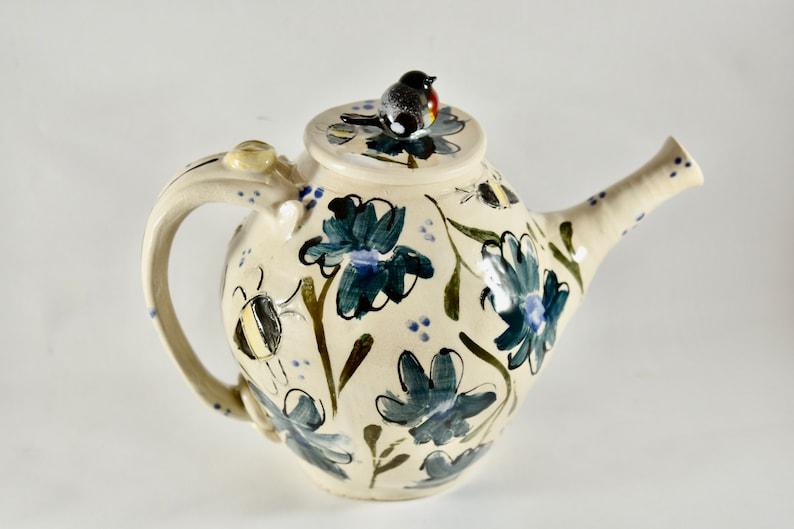 Large Handmade Teapot with Robin. Tea Pot Tea Cup Set. 9th image 0