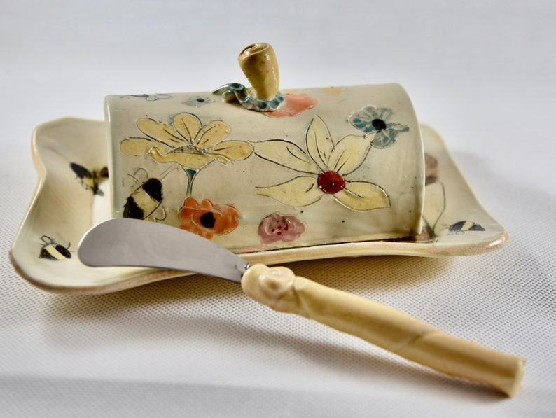 Cow Lover Gift Butter Dish with Lid. Ceramic Butter Keepe.r image 0