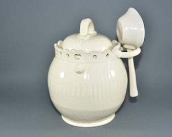 Tea Canister in White Ivory with Scoop. Handmade Honey Pot, Pottery Anniversary Gifts,