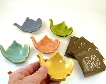 Teabag holder, Trinket Dishes, Ring Dish, tea lover gift, teapot jewelry. spoon rest