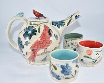 Handmade Ceramic Teapot with Red Cardinal and Bluebird. Pottery Tea Set, Tea Pot and Teacups, Pottery Anniversary Gift.