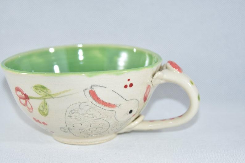 Ceramic Mug Handmade with Rabbit. Cereal Bowl with Handle. image 0