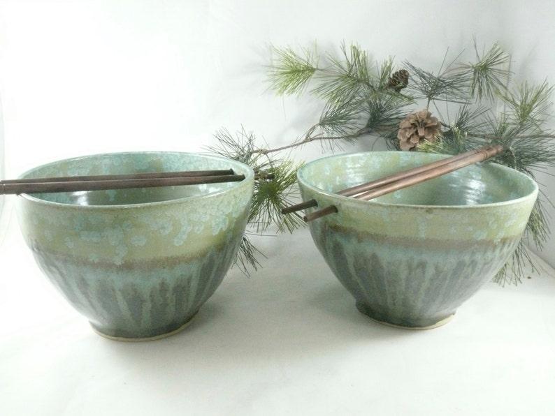 Large Pho Noodle Bowls Ceramic Rice Bowl Chopstick Bowl image 0