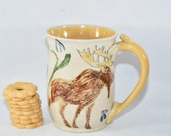 Extra Large Coffee Mug with Moose. Fathers Day Handmade Ceramic Mug. Pottery coffee cup.  Tea Cup. Stoneware Mug.