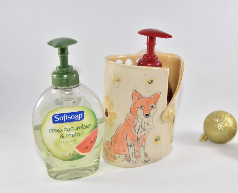 Kitchen Soap Holder with Fox.  Liquid soap dispenser. Handmade image 0