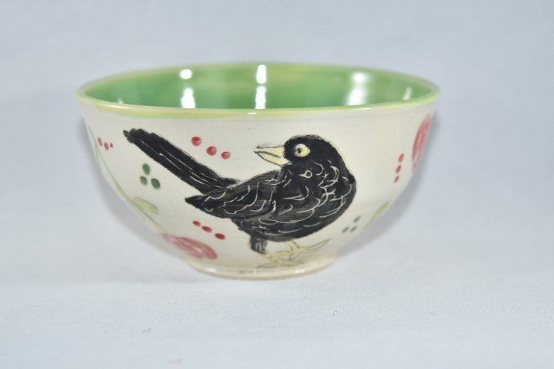 Handmade Pottery Bowl with Crow. Ceramic bowl for soup salad image 0