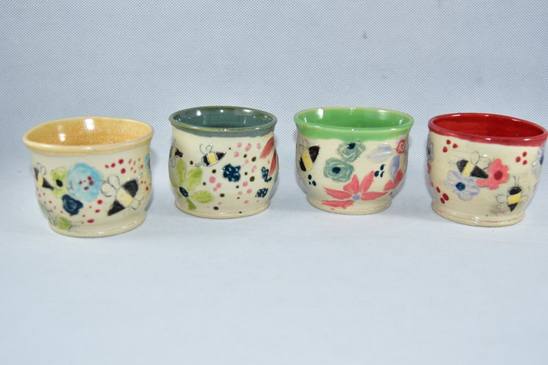 Handleless espresso cups with save the bees art Handmade image 0