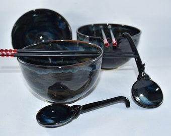 Ceramic Noodle Bowl Rice Bowl Chopstick bowl Pho Bowl Miso Soup Bowls Asian Decor Ramen Bowl Gift for Him 9th Anniversary Gift Pottery Bowl