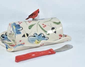 Lidded Butter Dish with Cardinal. Bird Lover Butter Keeper. Butter Tray with Lid. Ceramics and Pottery 9th Anniversary Gift.