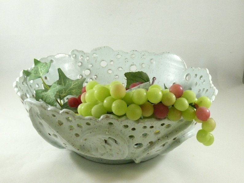 Handmade Pottery Fruit Bowlwith Cut outs in Mint image 0