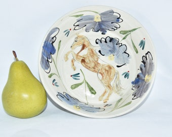 Pasta Bowl with Horse Art