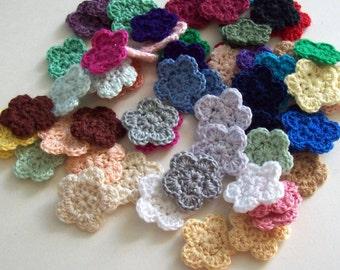 Mini Crochet Flower Appliques, 60 Assorted Colors Embellishment Embellishment, Scrapbooking
