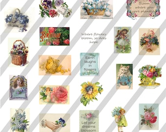 YOU print Floral image sheet for Small projects