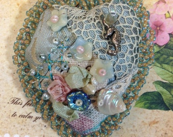 Crazy quilt lavender filled brooch sea theme