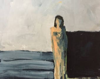 painting of a woman abstract figurative  indigo blue paynes grey original painting portrait art pamela munger