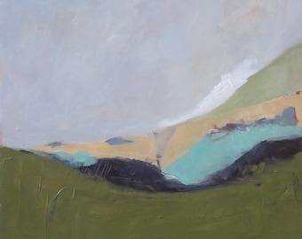 original abstract landscape oil painting on birchwood panel modern art white cloud