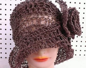Crochet Pattern Hat, Crochet Sun Hat Pattern for Women, Crochet Hat Pattern, Womens Hat, Ombretta Hemp 1920s Cloche Hat Pattern with Flower,