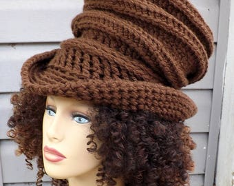 Top Hat Wide Brim Hat For Women, Brown Crochet Wide Brim Hat for Women, Crochet Top Hat for Women
