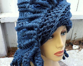 Hipster Beanie Hats, Crochet Beanie Hats for Women Winter Beanie, Crochet Hat Womens Hat Trendy, Hipster Hat, Blue Hat, Tribal Hat