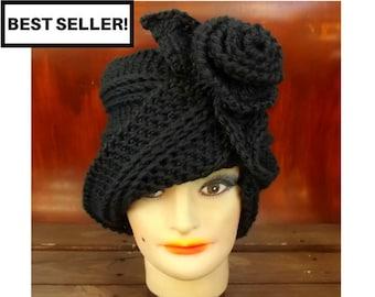 Crochet Cloche Hat Pattern with Flower, Cloche Crochet Pattern Hat Crochet, Crochet Hat Pattern Flower Pattern, Crochet Hat, Ombretta Hat