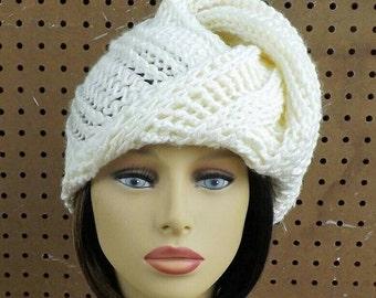 Ivory Crochet Hat Womens Hat, Womens Crochet Hat, African Headwrap, Ivory Hat Deitra Turban Hat Ivory Head Scarf Wrap, Unique Head Scarf