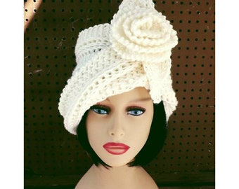 618b95143d1 Ombretta Crochet Diagonal Flapper Hat with Spring Flower and Brim for Women  in Ivory Acrylic Yarn