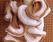 Gifts to Make, Latte Crochet Infinity Scarf Crochet Pattern with Ruffles for Women Instant Download Using Size N 9mm Crochet Hook
