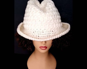 fecb49e9b0533 Andy Crochet Fedora Hat for Women Men in Ivory with Inside Adjustable  Hatband Cord Wide Brim Classic Style for Travel