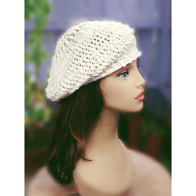 392abdee5ed Andrea Crochet Fashion Cotton Beret Beanie Slouchy Hat for