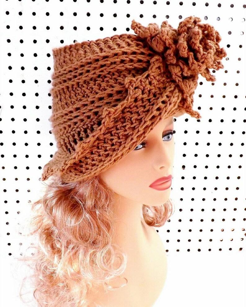 Art Deco Lauren Crochet Chemo Cloche Hat With Brim 1920s Etsy