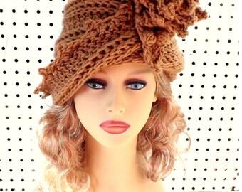 Crochet Cloche Hat 1920s, Womens Crochet Hat Womens Hat 1920s, Toasted Almond Lauren 1920s Cloche Hat Crochet Flower