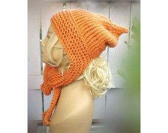 Womens Knitting Pattern Hat Ear Warmers, Sleigh Hat Scarf with Ear Flaps, Ladies Aran Knitting Patterns