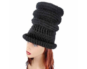 Strawberry Hat, Crochet Patterns for Women, Steampunk Gothic Top Hat, Tall Crown Hat with Brim for Men and Women
