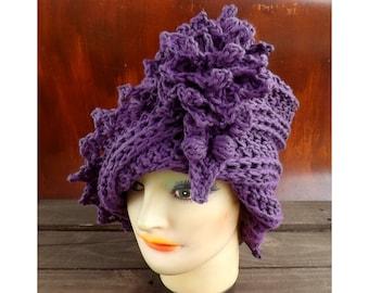 Crochet Patterns for Women, Lauren Cloche Hat with Flower, Tall Crown Hat, Steampunk Top Hat