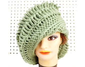 Light Sage Green Crochet Hat Womens Hat,  Womens Crochet Hat,  Crochet Hat,  Crochet Beanie Hat,  Sage Green Hat,  Royal Beanie Hat