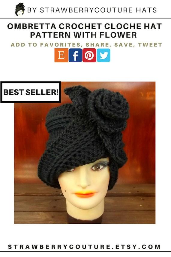 Ombretta Crochet Hat Cloche Hat Pattern With Flower Cloche Etsy