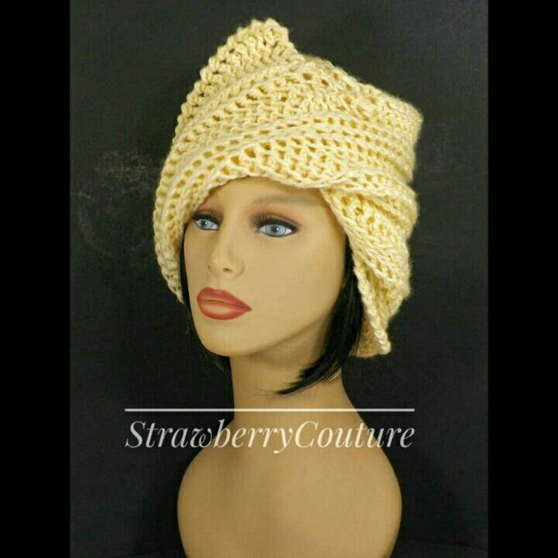 Wear with a Short Bob or any Hairstyle Judy Crochet Chemo Cloche Hat with Brim for Women One of a Kind in Cream with Zigzag Tilt Brim