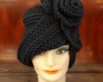 Hat Crochet Pattern Hat, Crochet Hat Pattern, Womens Hat, Ombretta 1920s Cloche Hat Pattern with Flower, Crochet Flower Pattern for Hat
