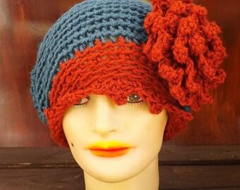 Crochet Pattern Hat, Crochet Hat Pattern, Womens Hat, Cloche Hat with Flower, Crochet Flower Pattern for Hat, Eve 1920s Cloche Hat Pattern