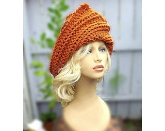 Adult Strawberry Crochet Hat Pattern, Crochet Crown Tall Hat Patterns for Women, Judy Cloche Hat with Flap