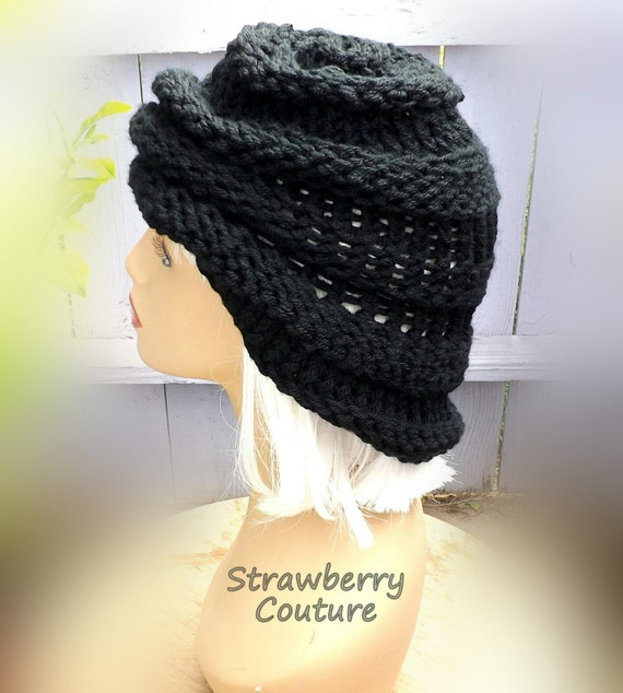 c1eb3d0ae44 Ombretta Knit Oversized Chunky Beanie in Black for Winter