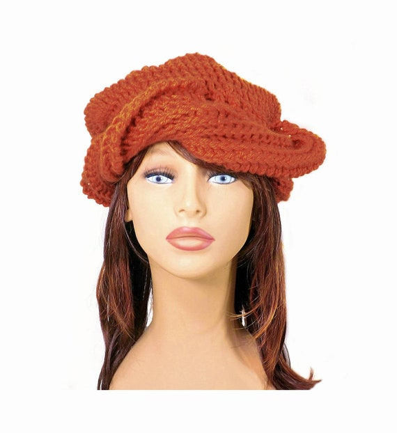 8be712615a3 Pleasantly Beautiful Samantha Womens Crochet Slouch Beanie Hat in Burnt  Orange Pumpkin