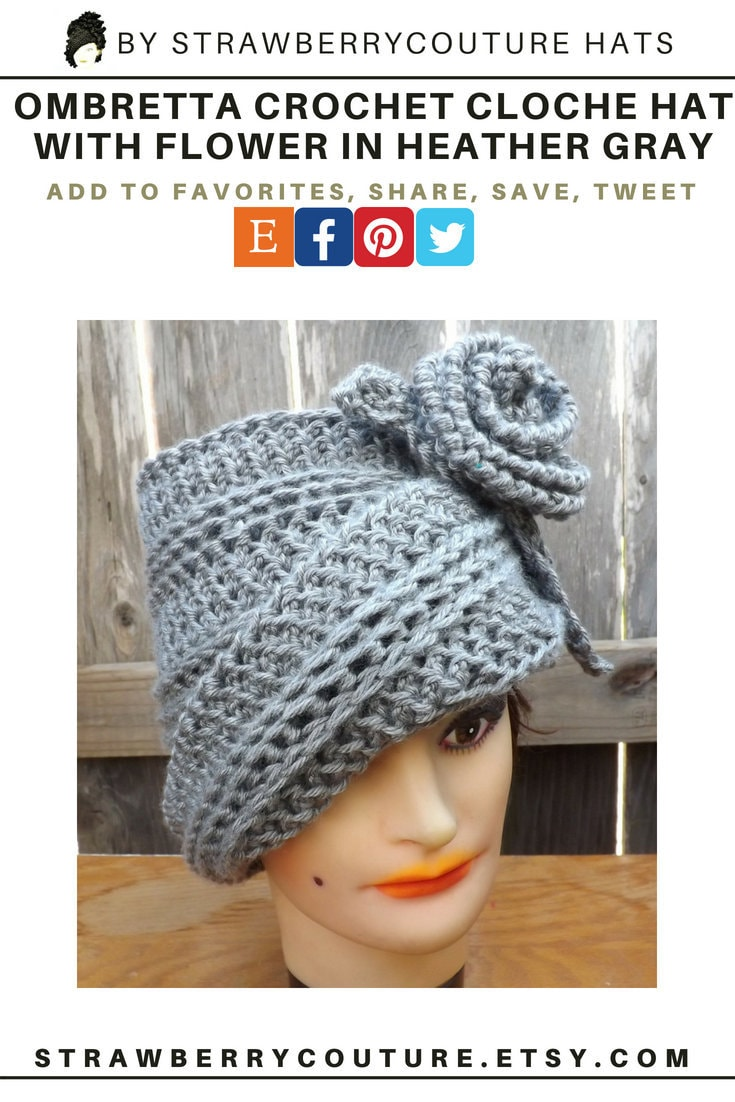The OMBRETTA crochet cloche hat for women has a with matching flower and leaf in heather gray. The hat looks like a mad hatter steampunk and tea party hat. The asymmetrical smooth edge brim that does not fall in your face. The left side sits under the crown while the right side flows above it. Change the look with one turn. Please click on the image and visit the page. Don't forget to share this post to your social media friends.