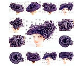 Crochet Patterns for Women, Crochet Wide Brim Women Hat with 2 Flowers, Kentucky Derby Hat, Steampunk Top Hat
