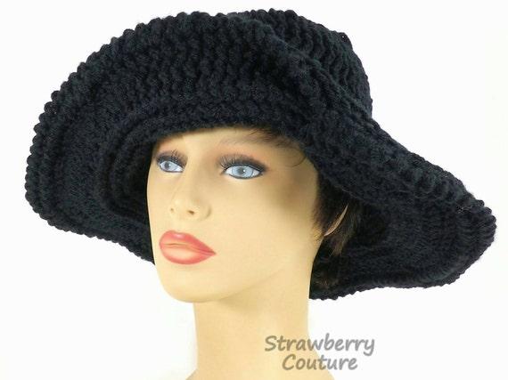 Rand und schwarzen Hut Frauen häkeln Cloche Hut schwarze | Etsy