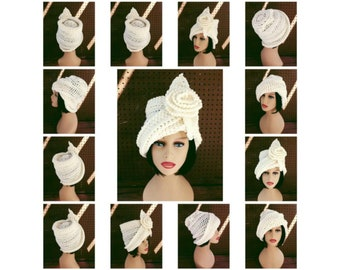 Crochet Patterns for Women, Ombretta Cloche Hat with Flower, Tall Crown Hat, Chemo Hats for Cancer Patients, Steampunk Top Hat