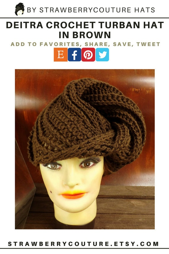 Women Crochet Turban Hat Brown Winter Turban For Women Chemo Etsy