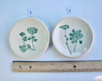 Ceramic Ring Dish/Plate, Mamezara, mini dish, Your Choiceof Two Handmade and Hand Painted Queen Ann's Lace