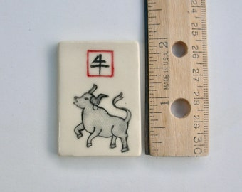 Ceramic Tiles, Handmade and Hand painted Ox ( not a transfer print design)  this year is year of Ox
